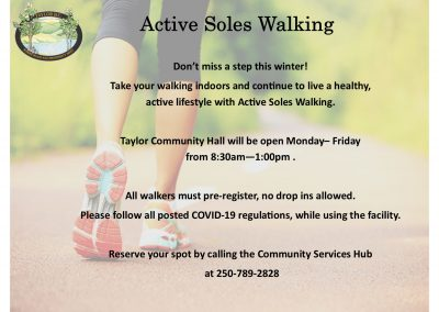 Active Soles Walking starts back up on December 29th, pre-registration is required