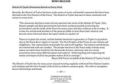 District of Taylor Denounces Racism in Every Form