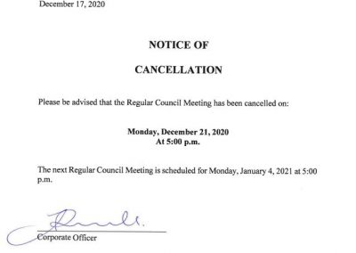 Notice of Cancellation of the December 21, 2020 Regular Council Meeting