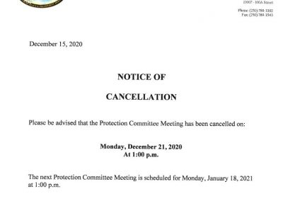Notice of Cancellation of the December 21, 2020 Protection Committee Meeting