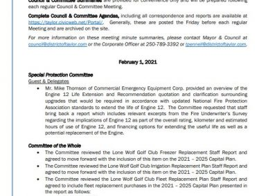February 16, 2021 Council & Committee Meeting Summary #3