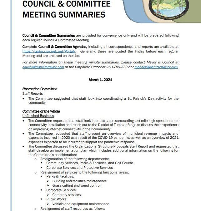 March 1, 2021 Council & Committee Meeting Summary
