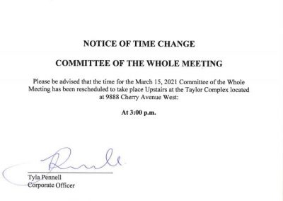 Notice of Time Change for the March 15, 2021 Committee of the Whole Meeting