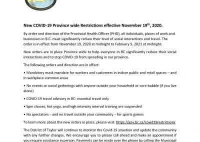 COVID-19 Province Wide Restrictions Extended Until February 5, 2021