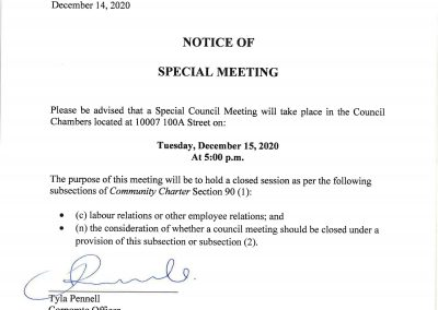 Notice of Special Council Meeting for Tuesday, December 15, 2020 at 5:00pm