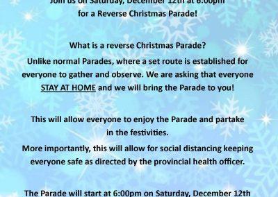Reverse Christmas Parade Saturday, December 12th