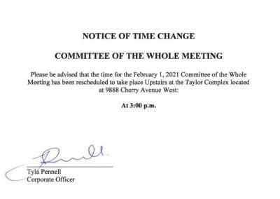 Notice of Time Change for February 1, 2021 Committee of the Whole Meeting