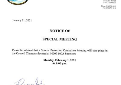 Notice of Special Protection Committee Meeting