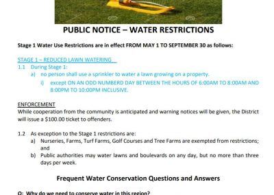 Stage 1 Water Restrictions in effect